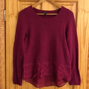 Lucky Brand sweater with lace trim